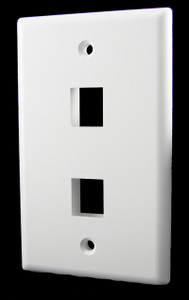 2 Port White Wall Plate