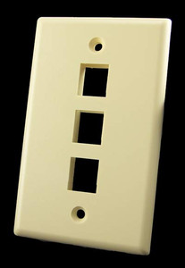 3 Port Ivory Wall Plate