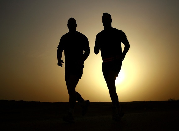 two joggers