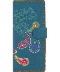 Paisley Large Embroidered Vegan Leather Wallet