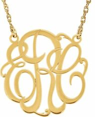 Custom Monogram Necklace in Gold