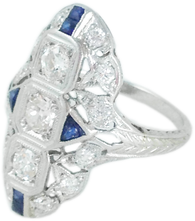 1920s Art Deco Diamond Sapphire Ring in Platinum and 18k White Gold