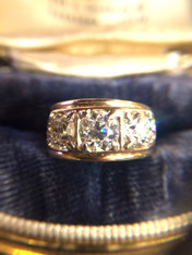 3 Diamond European Cut Antique Ring