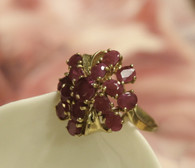 14k Gold Fifteen Ruby Ring