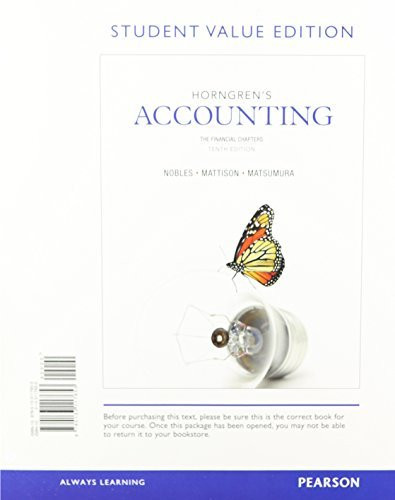 Horngren's Accounting: The Managerial Chapters 11th Edition