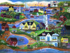 PRIMITIVE AMERICAN SEASIDE VILLAGE FOLK ART PRINT