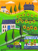 Sunflower Gardens & Pot Belly Pig with Wagon Folk Art Print 12x16