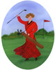 Old Time Lady Golfer Red Plaid Dress Folk Art Painting