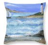 "Private Beach Lighthouse Throw Pillow 14""x14"""