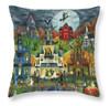 Spooky Street Halloween Folk Art Throw Pillow