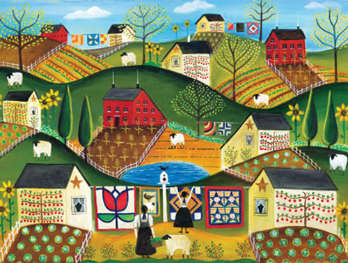 Vegetable Garden Masterpieces Puzzle Folk Art Cheryl Bartley