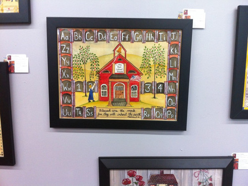 Folk Art Original Watercolor Painting Red School House Sampler Framed