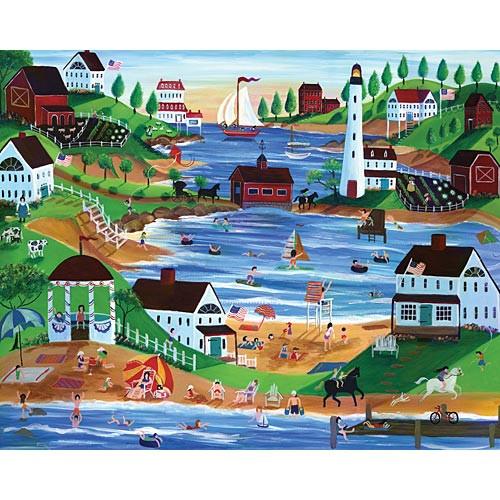Summertime Fun Oceanside Village Folk Art 12 x16