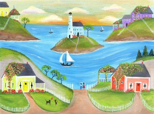 LAST SAIL EVENING by OCEAN COTTAGES Folk Art Print