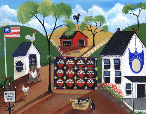 EGG LADY FARM HOUSE CATS Folk Art Print