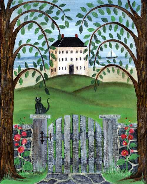 OCEAN HOUSE with CAT UNDER WILLOW TREES FOLK ART PRINT 8x10
