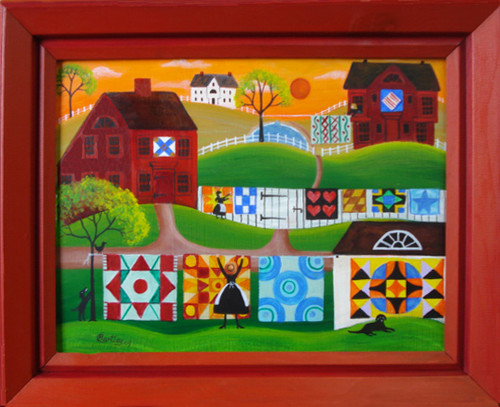 RED SALTBOX QUILTERS VILLAGE FOLK ART PAINTING