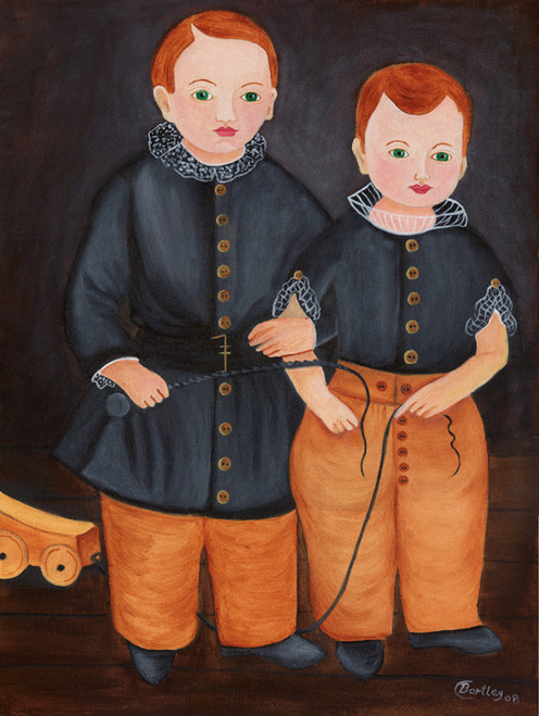 PRIMITIVE FOLK ART PAINTING BROTHERS BLACK COATS with TOYS