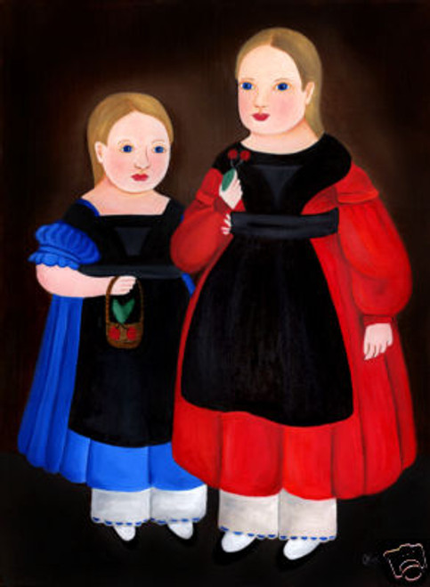 PRIMITIVE FOLK ART PAINTING SISTERS IN BLACK APRONS