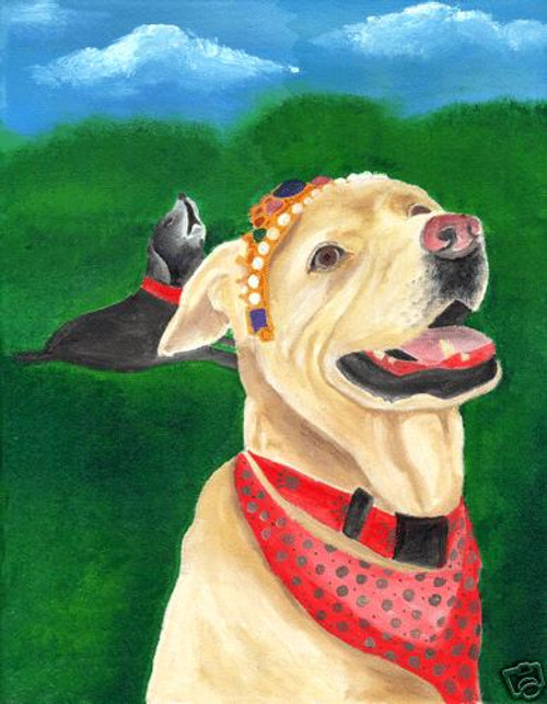 PORTRAIT OF YOUR DOG/s FOLK ART PAINTING ORIGINAL 11x14
