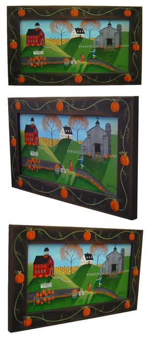 Pumpkin Country Folk Art Painting Framed