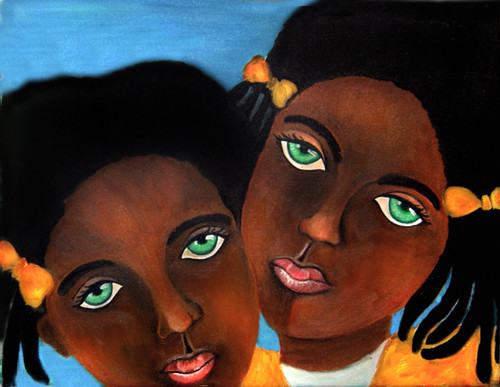 Twin Black Girls Yellow Bows in Hair