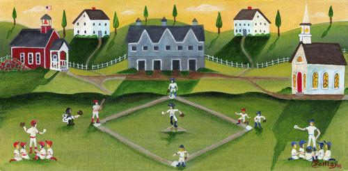 BASEBALL GAME SCHOOL CHURCH FOLK ART PRINT 11x14