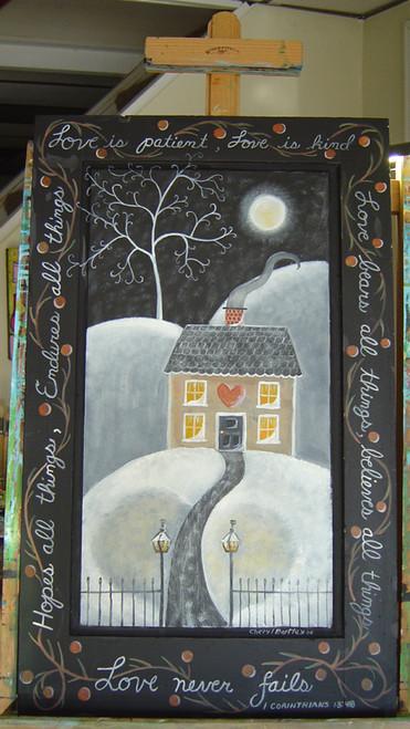 """Antique wooden sign Winter Corinthians """"LOVE"""""""