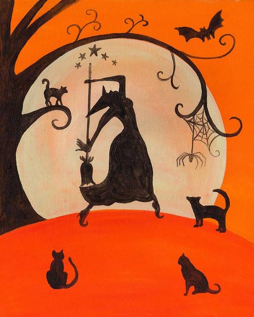 Halloween Witch Dance Moon Bats Cats Spiders Folk Art Print