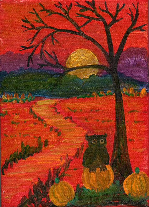 Halloween Folk Art Owl on Pumpkin at Sunset