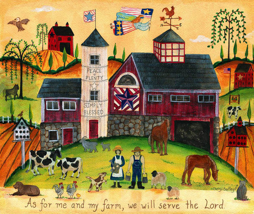 We will serve the Lord Folk Art painting