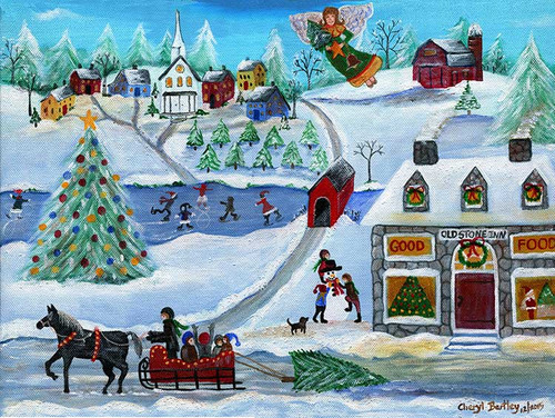 Old Stone Inn Christmas Time Folk Art Painting SOLD