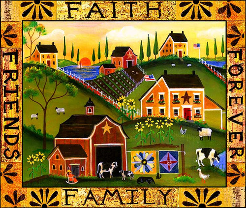 Faith Family Friends Forever Folk Art Print 11x14