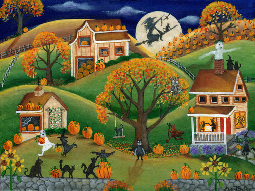 Halloween Folk Art Painting Autumn Harvest Pumpkin Fun