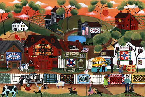 Americana Sunrise Quilters Folk Art Village Painting
