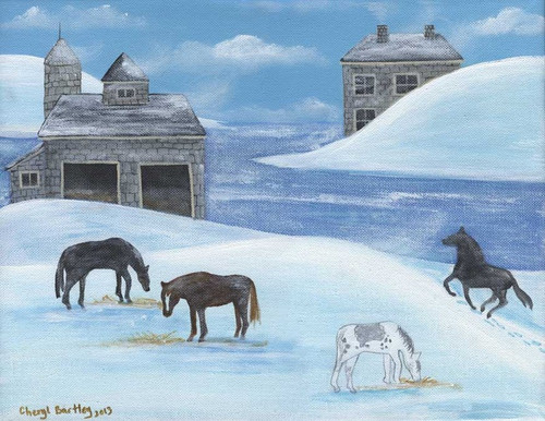 Horses in Snow by River Folk Art Painting