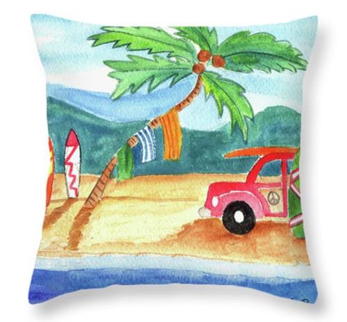 """Beach Bum Surfboard Palm Tree Throw Pillow 14"""" x 14"""""""