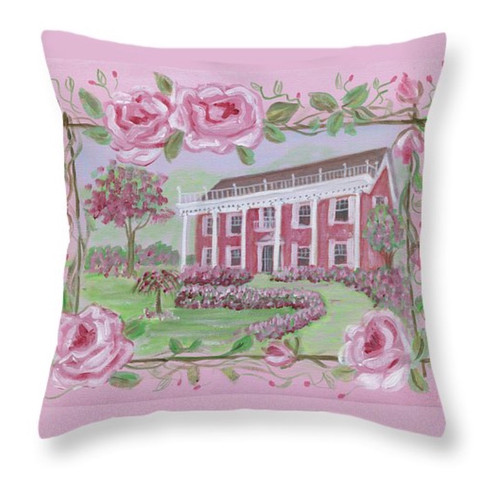 "Shabby Chic Pink Rose House Throw Pillow 16"" x 16"""
