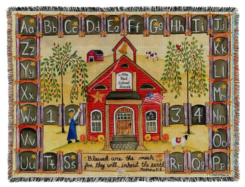Woven Throw Blanket Little Red School House 54x70""