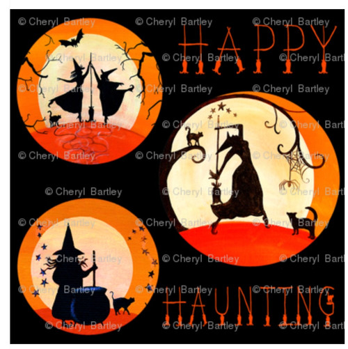 Happy Haunting Black Background Witches GiftWrap