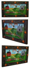 Pumpkin Country Folk Art Painting Framed