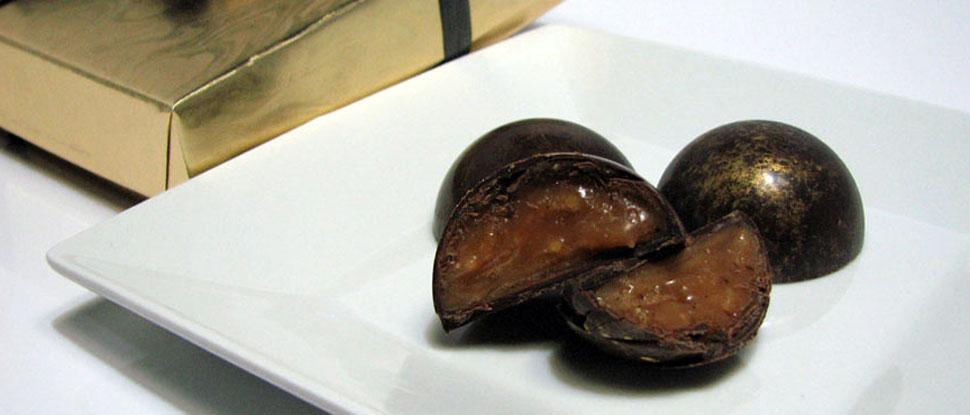 Gourmet dark chocolate creamy caramels