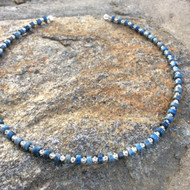 Studded Lapis Lazuli Choker Necklace with Magnetic Clasp