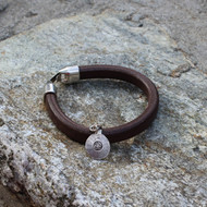 Brown Leather Bracelet with Silver Om Charm
