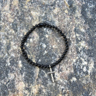Black Agate Stretch Bracelet with Cross