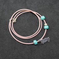 Kinetic Bracelet in Pink Leather With Silver Music Staff Charm