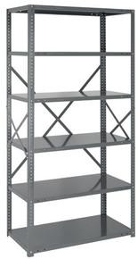 Steel Open Shelving - 22 Gauge - 75 Inch High 6 Shelves 12 x 36 (V22G-75-1236-6)