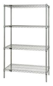 "54"" High Chrome Wire Shelving Units - 4 Shelves - 12 x 42 x 54 (VWR54-1242C)"