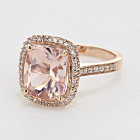 Rose Gold Morganite Cushion Halo Engagement Ring Style #R574-4