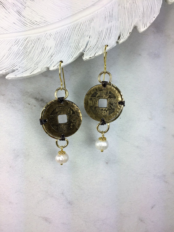 Asian Crescent Coin Earrings